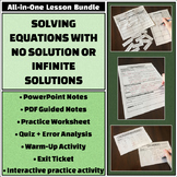 No or Infinitely Many Solutions - All-in-One Bundle - Notes, activities, & more!