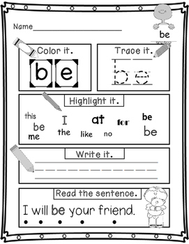 No-prep Sight Word Practice Pages Fry's 21 - 40