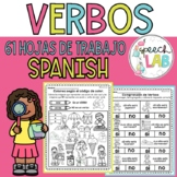 No prep Spanish verbs / actions worksheets - Verbos en español hojas de trabajo