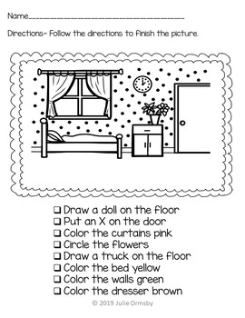 No prep following directions worksheet 1 & 2 step
