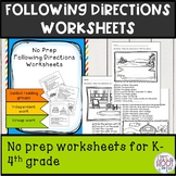 following directions worksheet 1 & 2 step NO PREP
