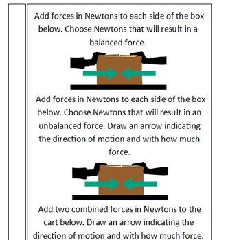 No prep physics forces Newton's laws PWPT interactive notebook task cards QR KWL
