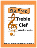 No Prep Treble Clef Worksheets (with answer key)