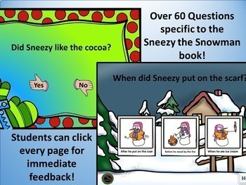 No print Sneezy Snowman Book Companion for yes/no and Wh-Questions (teletherapy)
