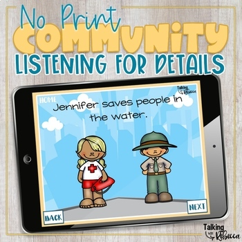 No print Community Helpers Listening for Details  (receptive language)