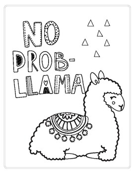 No prob-llama printable/coloring page by FalalaLearning | TpT