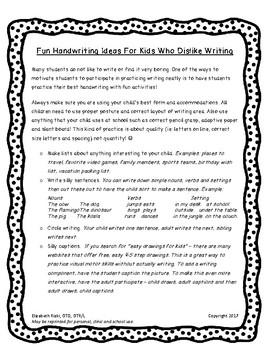 No to Low Prep Fun Handwriting Ideas for Kids who Dislike  Writing!