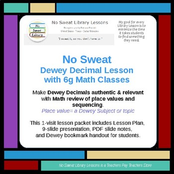 NoSweat Dewey Decimal Library Lesson with 6th Grade Math Classes