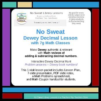 NoSweat Dewey Decimal Lesson with 7th Grade Math Classes !