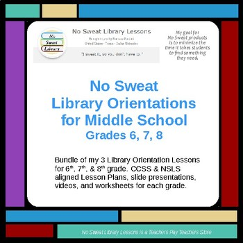 NoSweat Middle School Library Orientations-Grades 6,7,8