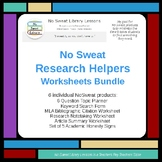 NoSweat Library Research Helper: Worksheets Bundle