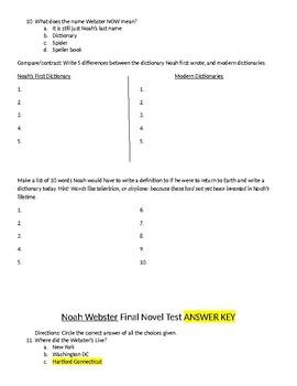 Noah Webster End of Unit Test