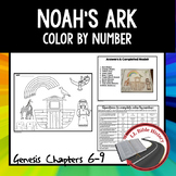 Noah's Ark (Bible Genesis 6-9) Color By Number Activity