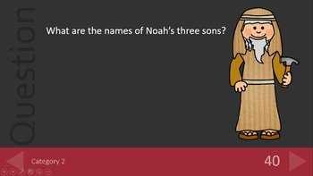 Noah's Ark Game Bible Trivia -  Jeopardy Style PowerPoint Review Game Show