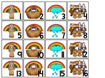 Noah's Ark Calendar pieces. Preschool-KDG Bible bulletin board.