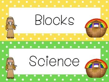 Noah's Ark Classroom Center Sign Labels. Bible Bulletin Board Set.