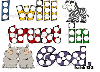 Noah's Ark Dot Paint Pages- Isaiah 12:2 Bible story craft for kids