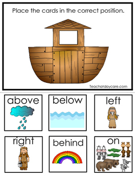Noah's Ark Positional Game. Preschool-Kindergarten. Printable game in a PDF file