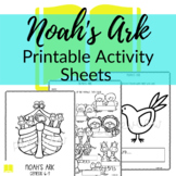 Noah's Ark Printable Activity Sheets for Sunday School or