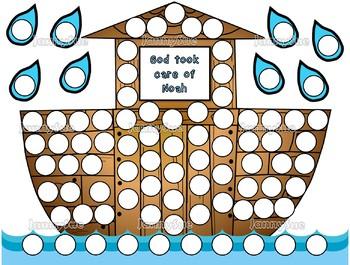 Noah's Ark dot paint pages