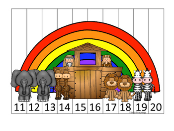 Noah's Ark themed 11-20 Sequence Puzzle printable game. Bible Curriculum.