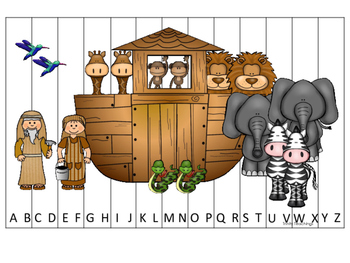 Noah's Ark themed Alphabet Sequence Puzzle printable game. Christian Curriculum.