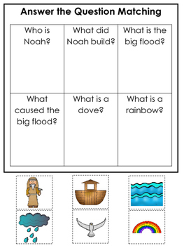 Noah's Ark themed Answer the Question printable game. Preschool Bible Curriculum