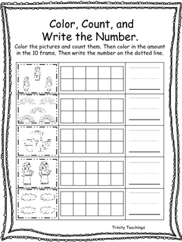 Noah's Ark themed Color, Count and Write printable workshe