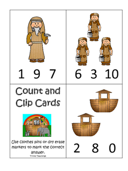 Noah's Ark themed Count and Clip printable game. Preschool Bible Curriculum