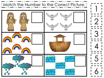 Noah's Ark themed Match the Number printable game. Christian Preschool Curriculu