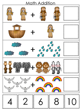 Noah's Ark themed Math Addition printable game. Christian Preschool Curriculum.