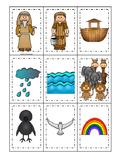 Noah's Ark themed Memory Match printable game. Christian Preschool Curriculum.