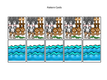 Noah's Ark themed Pattern Cards printable game. Preschool Bible Curriculum.
