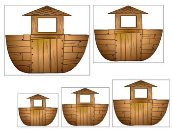 Noah's Ark themed Size Sequence printable game. Preschool Bible Curriculum.