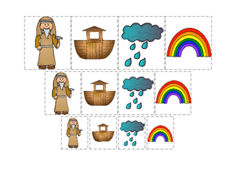 Noah's Ark themed Size Sorting printable game. Preschool Bible Curriculum.
