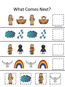 Noah's Ark themed What Comes Next printable game. Christian Preschool Curriculum