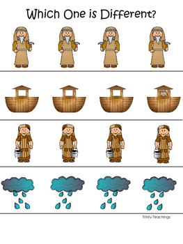 Noah's Ark themed Which One is Different printable game. Christian Curriculum