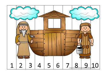 Noah's Ark Number Sequence Puzzle 1-10 Printable Game. Preschool-Kindergarten.