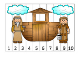 Noah's Ark Number Sequence Puzzle 1-10 Printable Game. Preschool-Kindergarten.