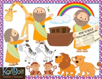 Noah's Ark, Animals and Scenes Clip Art