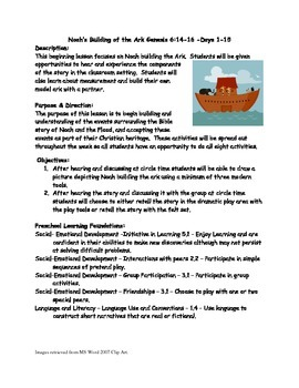 Noah's Ark Preschool Lesson Plan with activities.