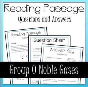 Noble Gases Periodic Table Reading, Questions and Answers