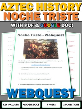 Noche Triste (Aztec History) - Webquest with Key (Google Doc Included)