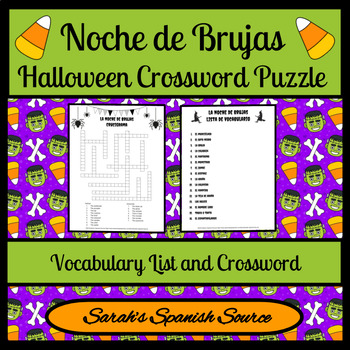 Noche de Brujas Halloween Spanish Crossword Puzzle