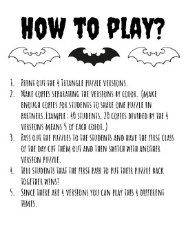 Noche de Brujas Halloween Spanish Triangle Puzzle and Vocabulary List