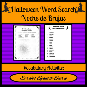 Noche de Brujas Halloween Spanish Word Search and Vocabulary List