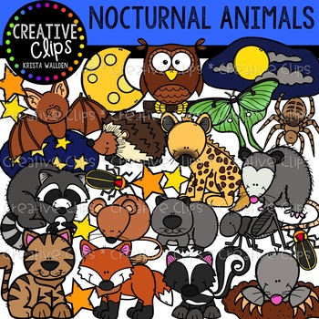 Nocturnal Animal Clipart {Creative Clips Clipart} | TpT