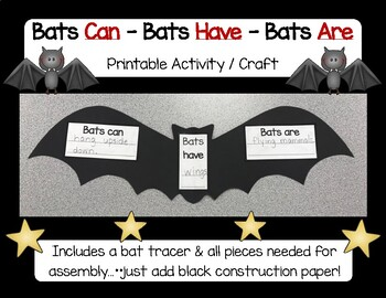 Nocturnal Animals - Bats Can / Have / Are - Cut & Paste Activity