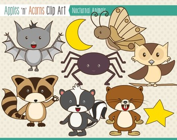 Nocturnal Animals Clip Art - color and outlines by Apples ...