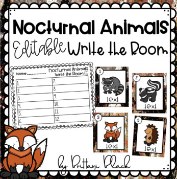 Nocturnal Animals- Editable Write the Room